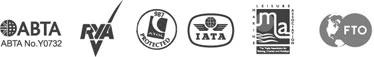ABTA, ATOL, IATA and RYA logos